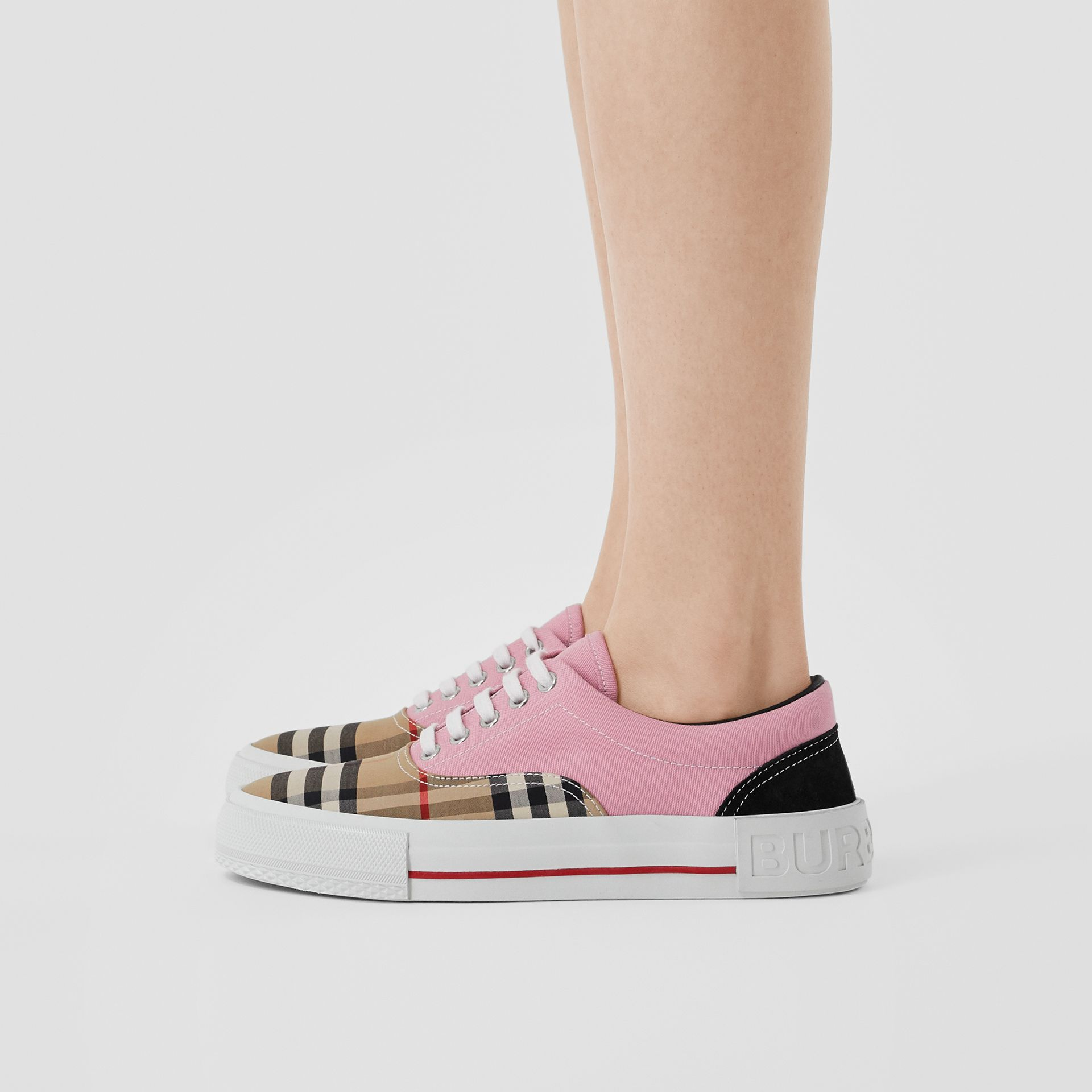 Vintage Check, Cotton Canvas and Suede Sneakers in Archive Beige/pink - Women | Burberry - gallery image 2