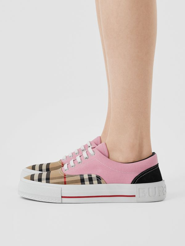 Vintage Check, Cotton Canvas and Suede Sneakers in Archive Beige/pink - Women | Burberry Hong Kong S.A.R - cell image 2