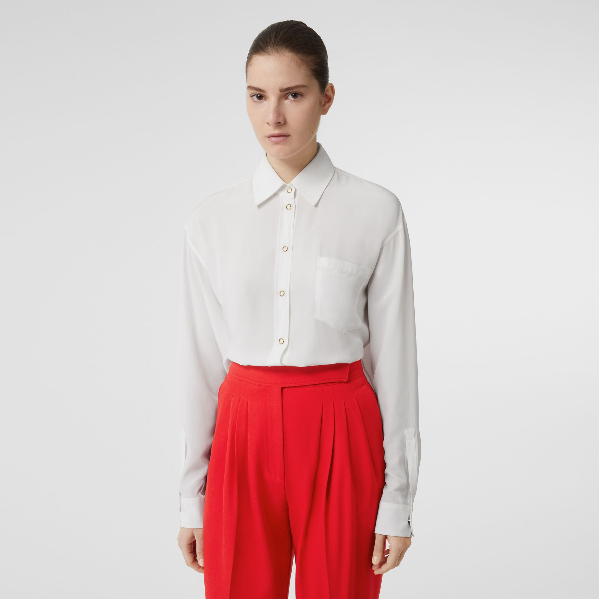 Press-stud Silk Crepe De Chine Shirt in White - Women | Burberry - gallery image 0