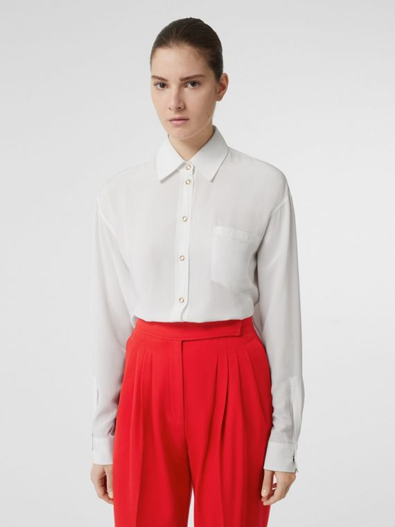 Press-stud Silk Crepe De Chine Shirt in White