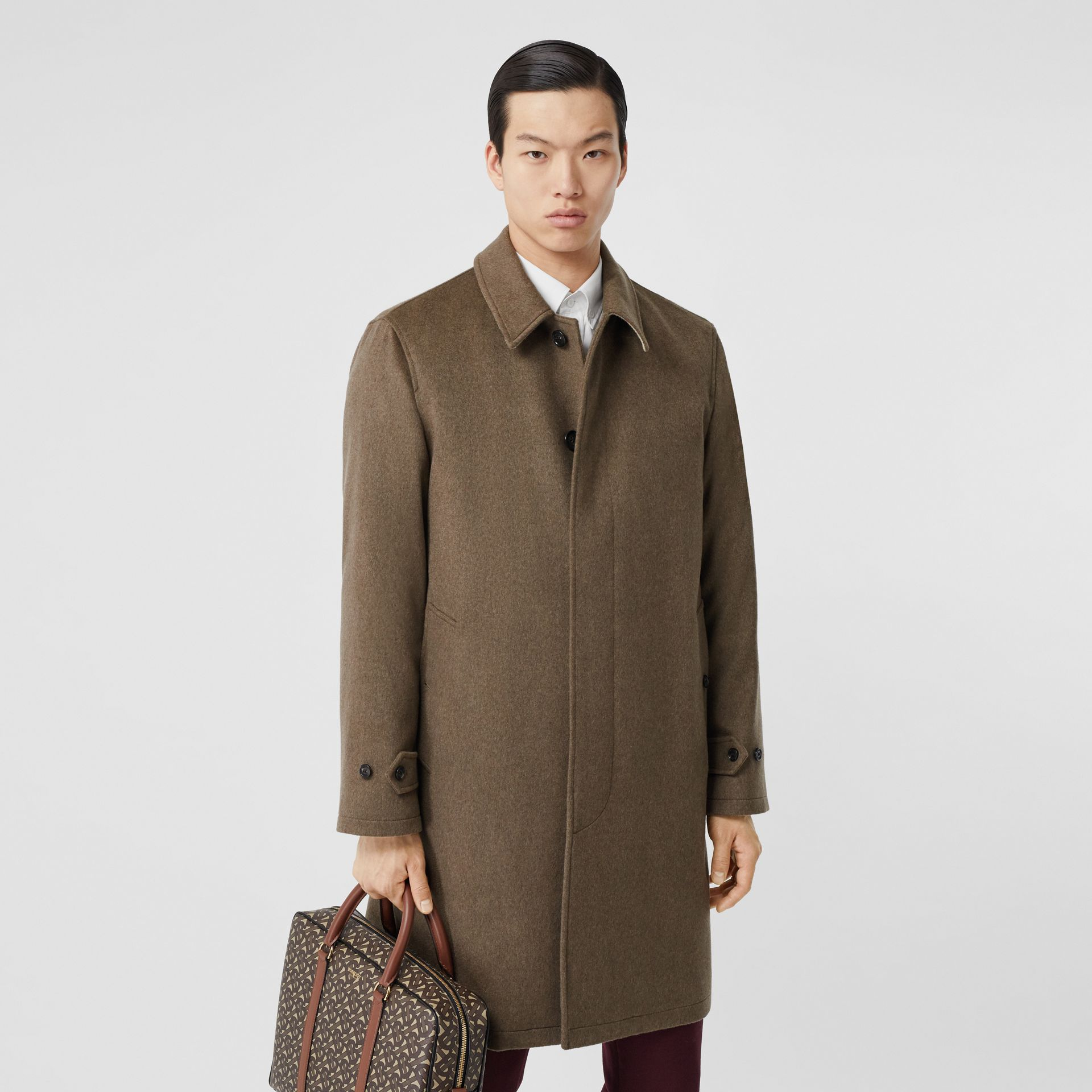 Cashmere Car Coat in Deep Taupe Melange - Men | Burberry - gallery image 6