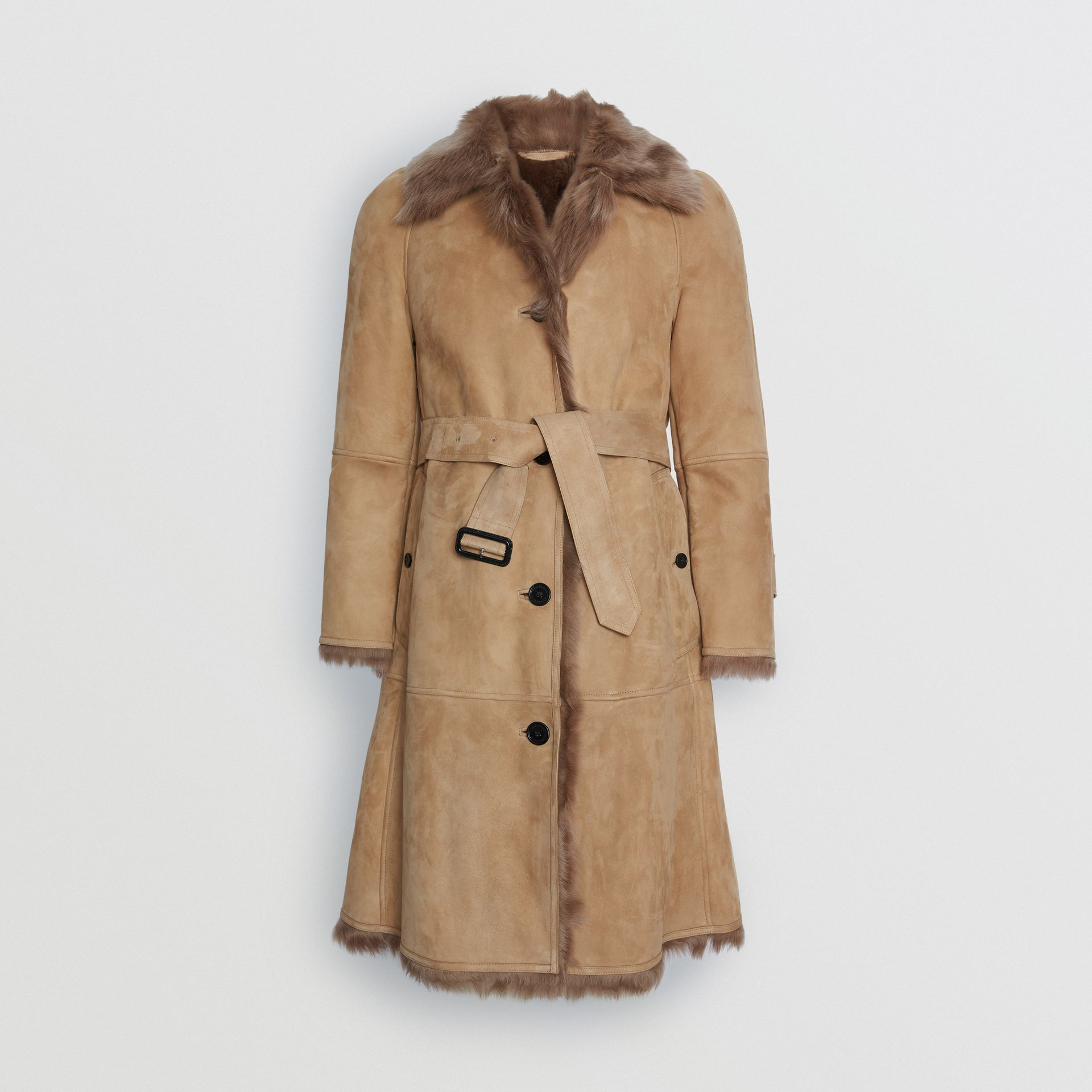 Shearling Car Coat in Camel - Women | Burberry - gallery image 3
