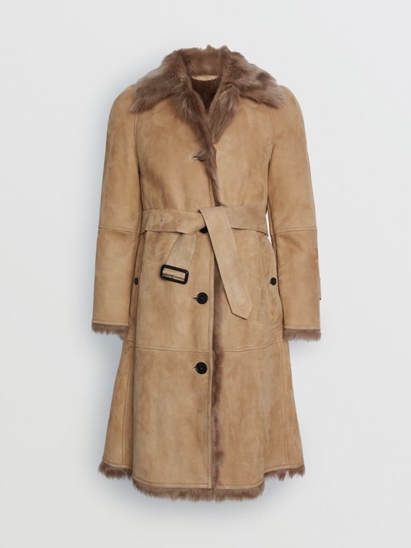 Shearling Car Coat in Camel - Women | Burberry - cell image 3