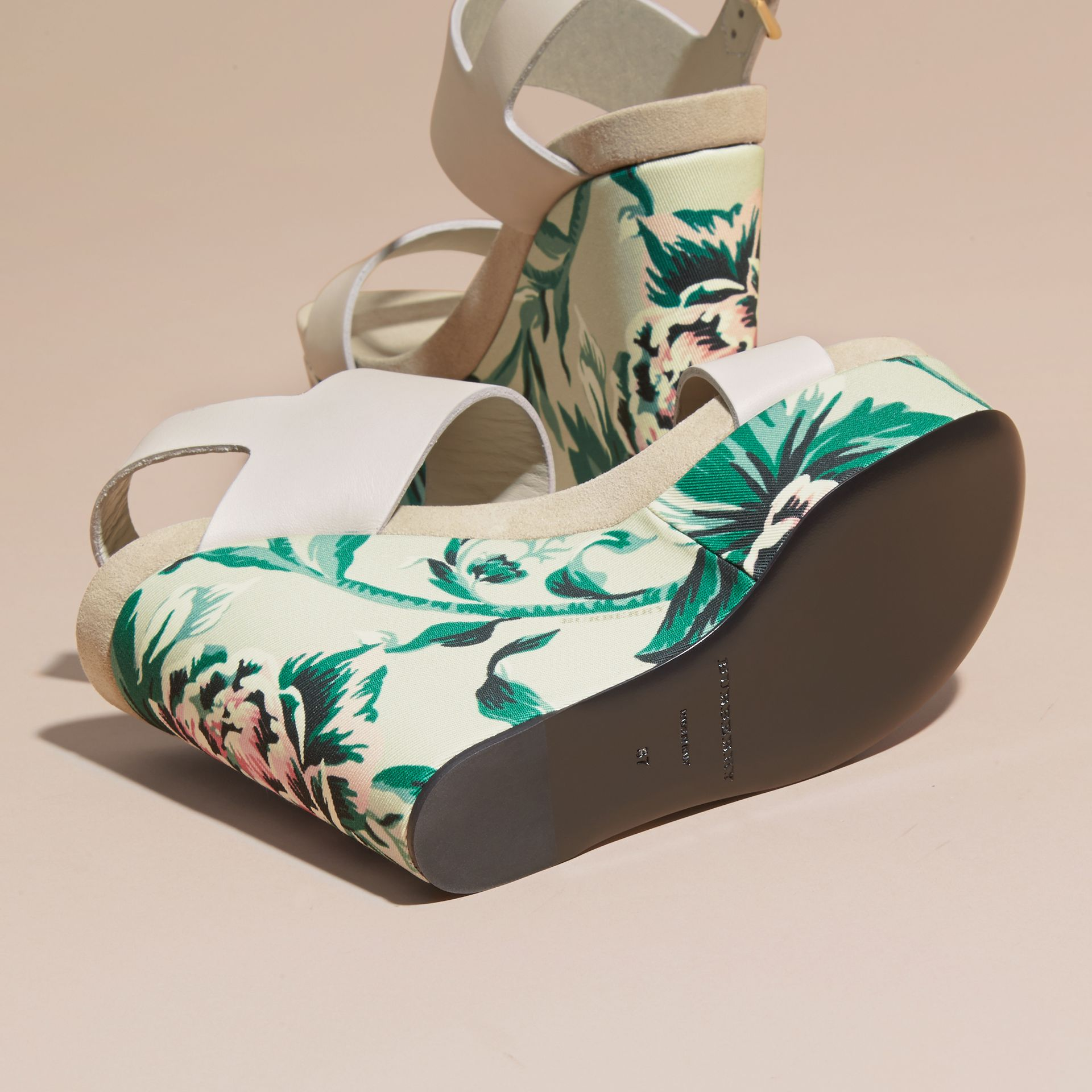 Peony Rose Print Leather Platform Wedges Emerald Green - gallery image 5