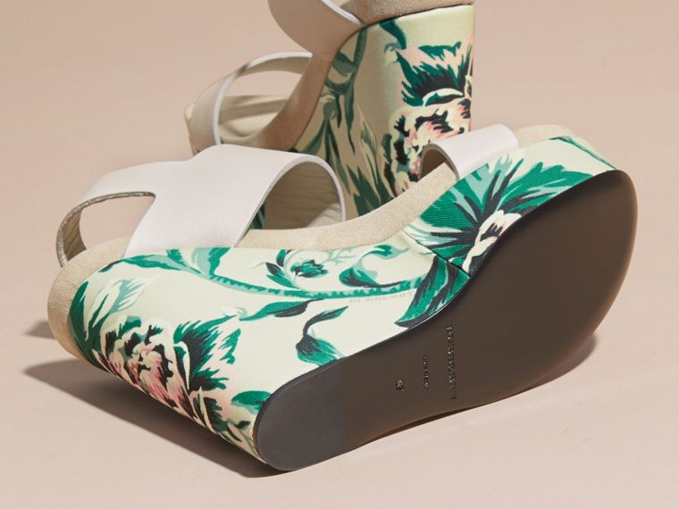 Peony Rose Print Leather Platform Wedges Emerald Green - cell image 4