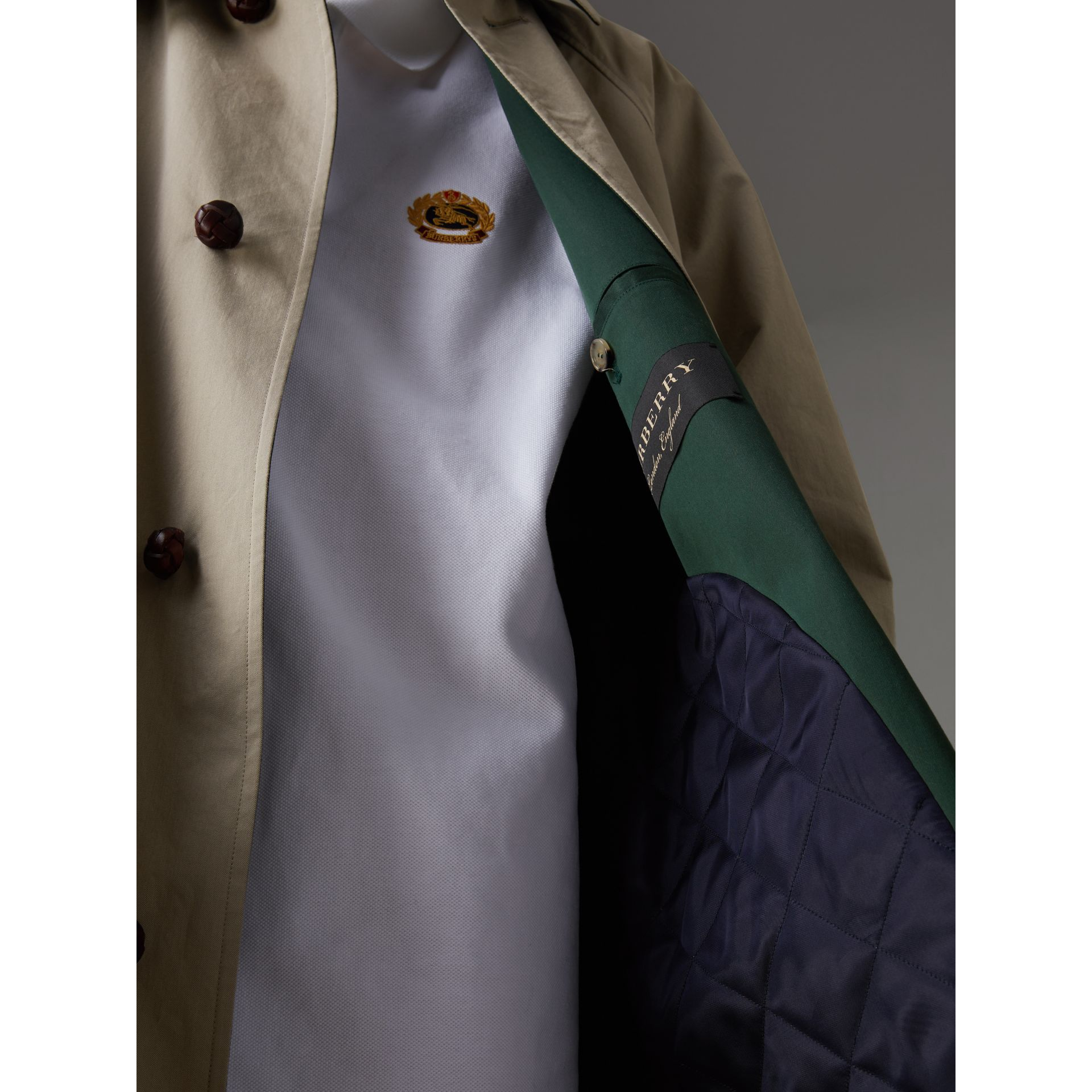 Reissued Waxed Cotton Gabardine Car Coat in Khaki - Women | Burberry Australia - gallery image 5