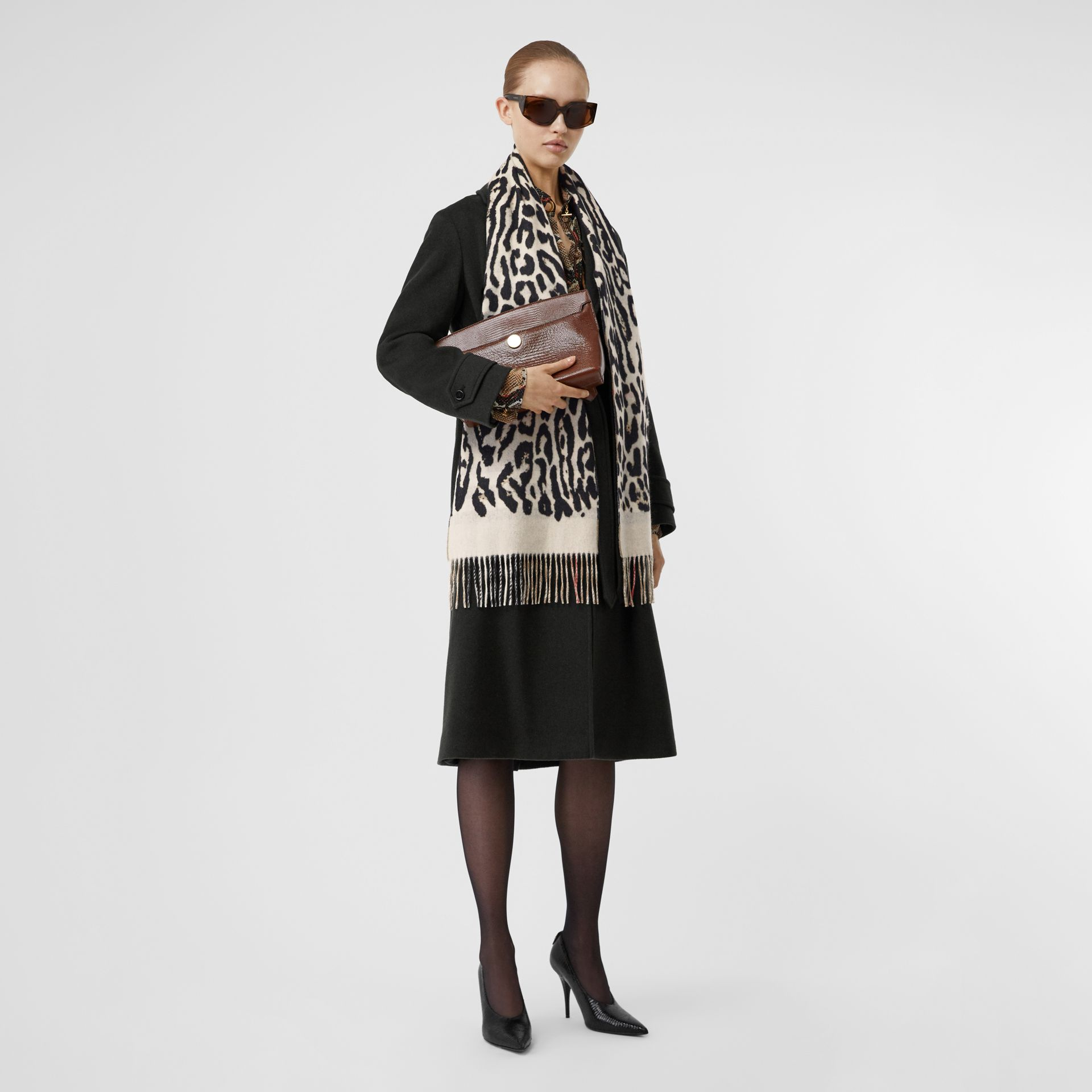 Leopard Print and Check Cashmere Scarf in Black | Burberry - gallery image 6