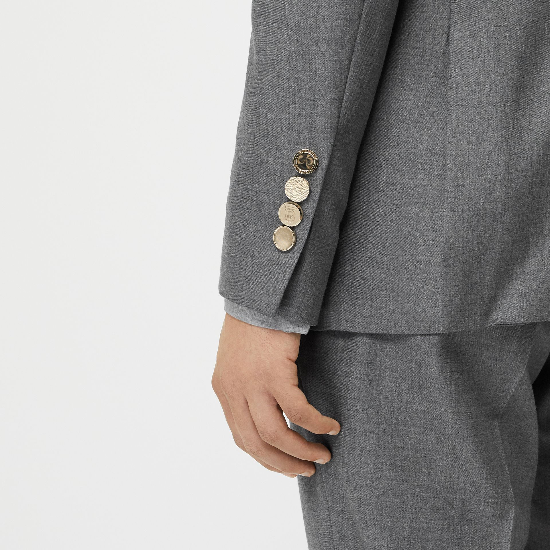 English Fit Metal Button Wool Tailored Jacket in Light Grey | Burberry - gallery image 5