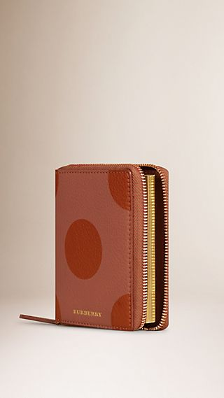 Dot Print Ziparound Grainy Leather Mini Notebook