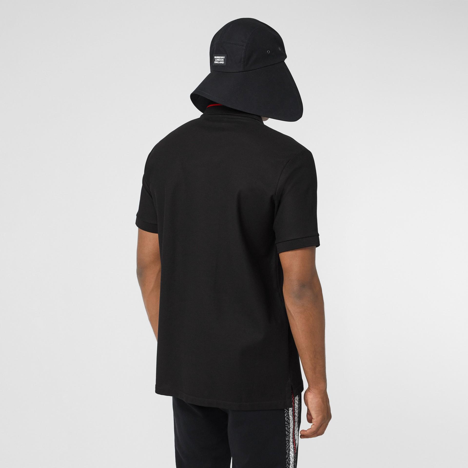 Monogram Stripe Print Cotton Piqué Polo Shirt in Black - Men | Burberry - gallery image 2