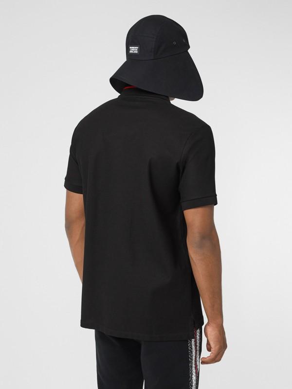 Monogram Stripe Print Cotton Piqué Polo Shirt in Black - Men | Burberry - cell image 2