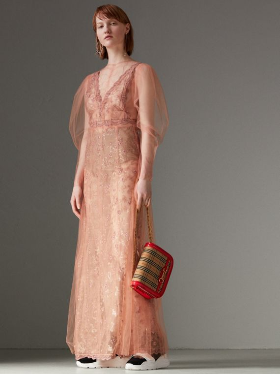 Floral-embroidered Puff-sleeve Dress in Dusty Pink - Women | Burberry United States - cell image 2