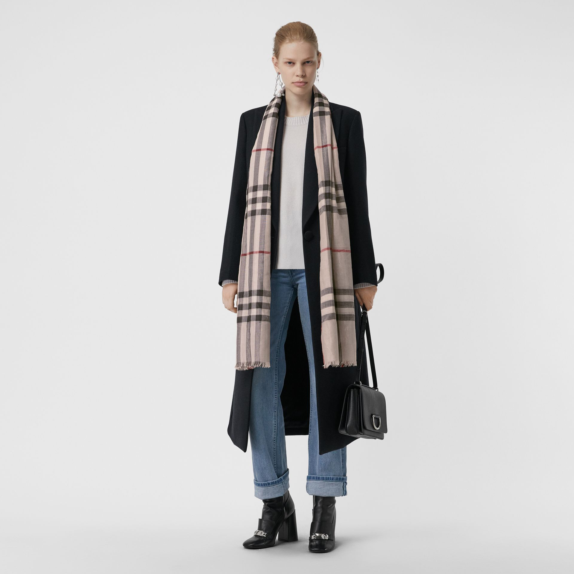 Metallic Check Silk and Wool Scarf in Stone/ Silver | Burberry United Kingdom - gallery image 2