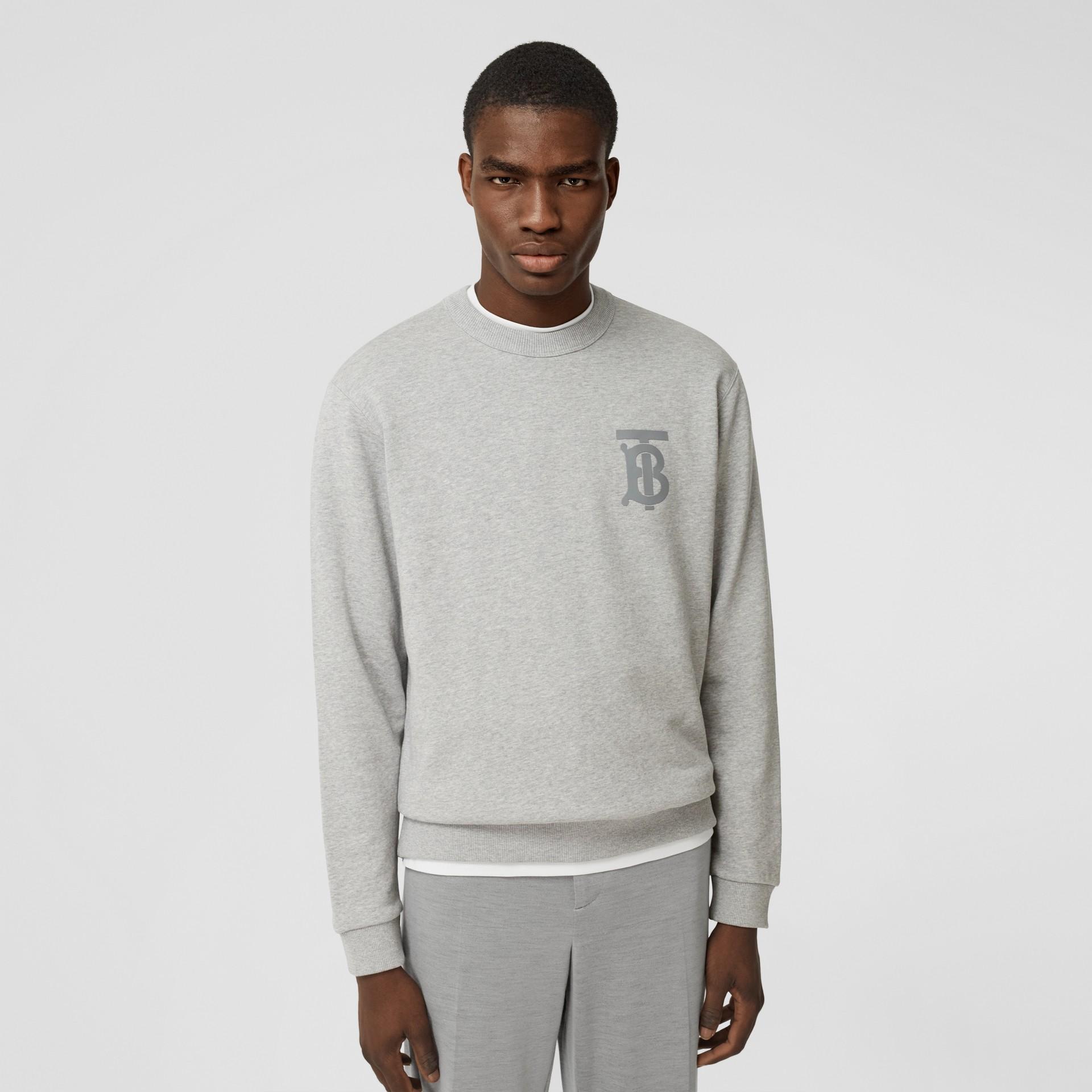 Monogram Motif Cotton Sweatshirt in Pale Grey Melange - Men | Burberry United Kingdom - gallery image 0