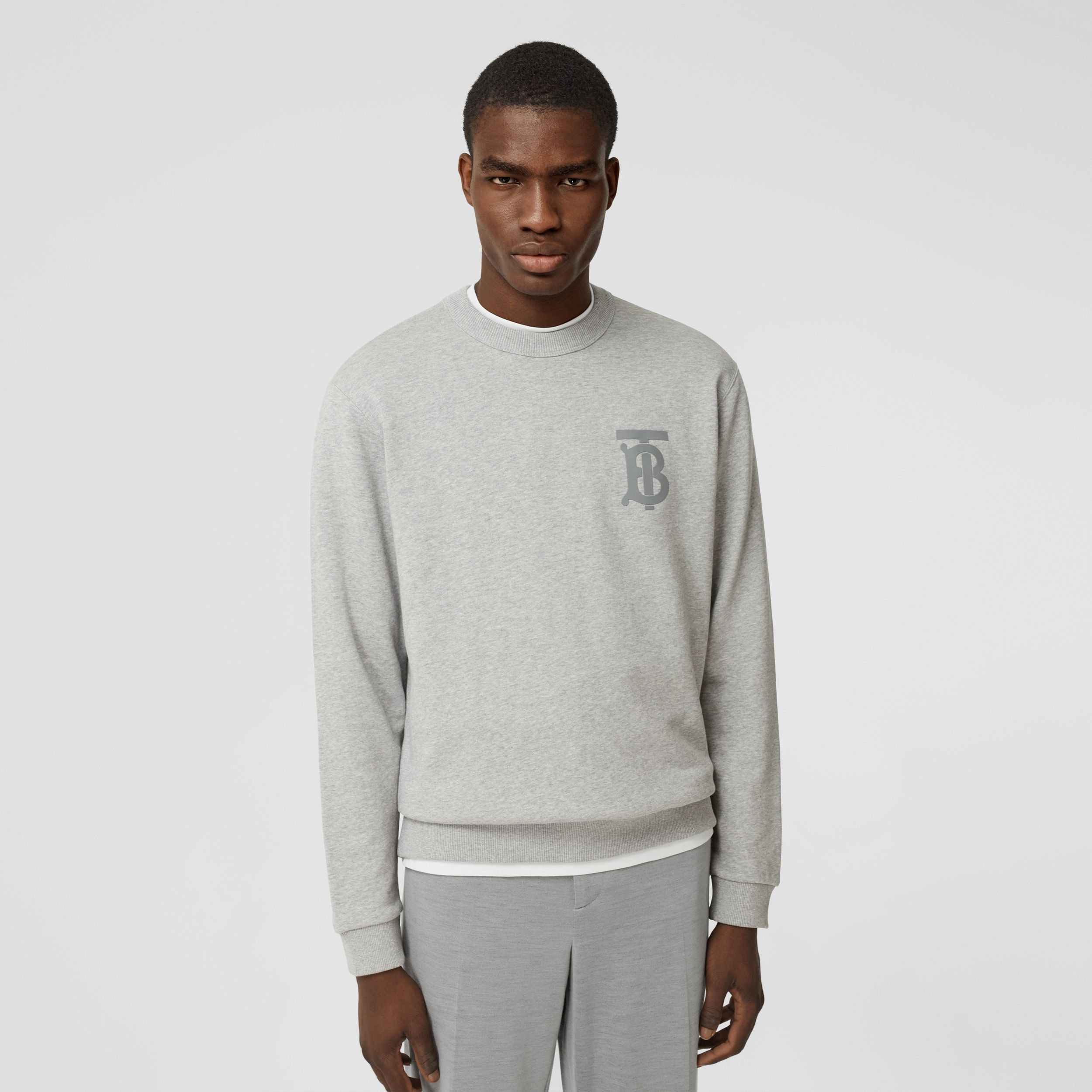 Monogram Motif Cotton Sweatshirt in Pale Grey Melange - Men | Burberry - 1