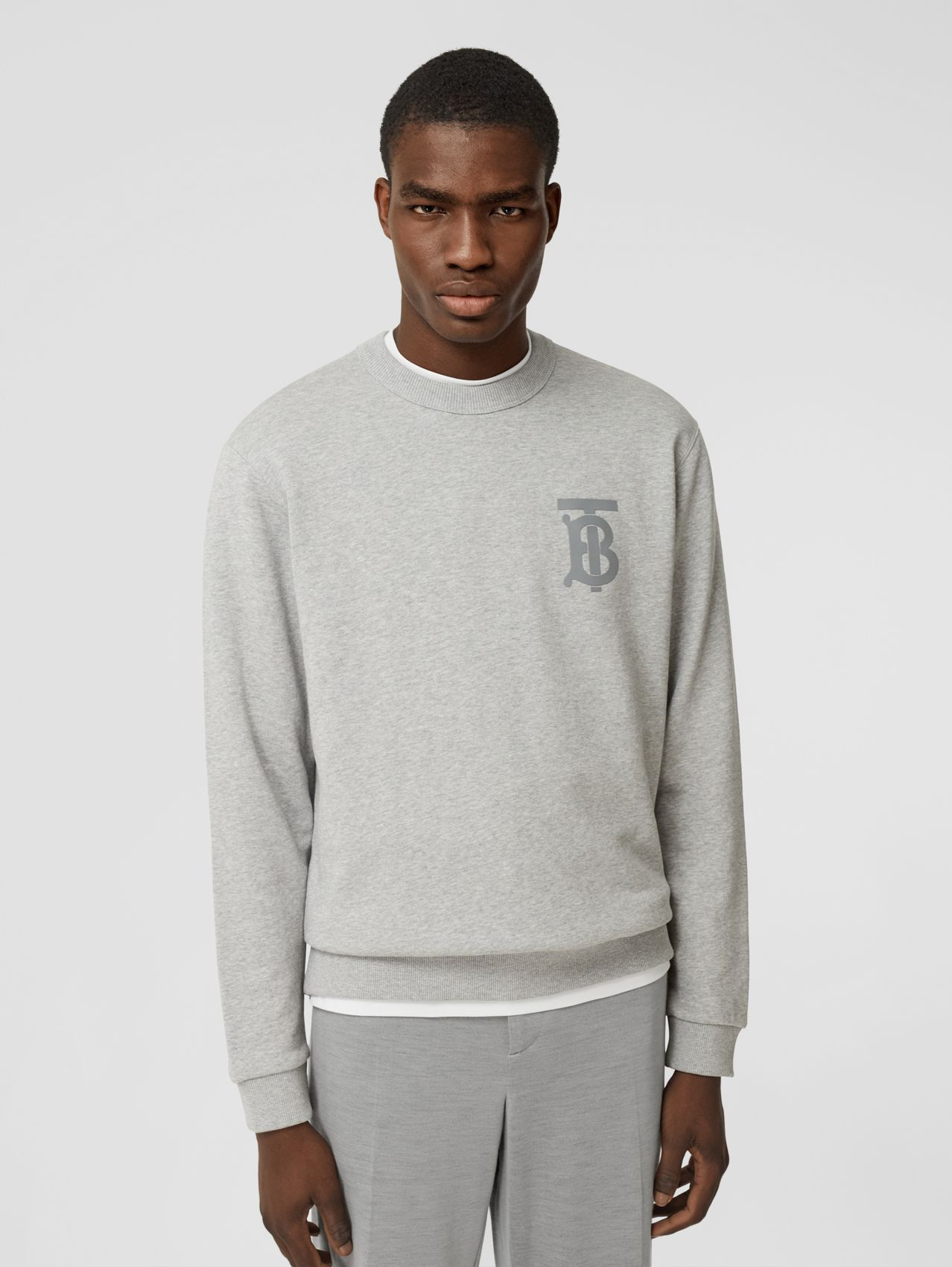 Monogram Motif Cotton Sweatshirt in Pale Grey Melange