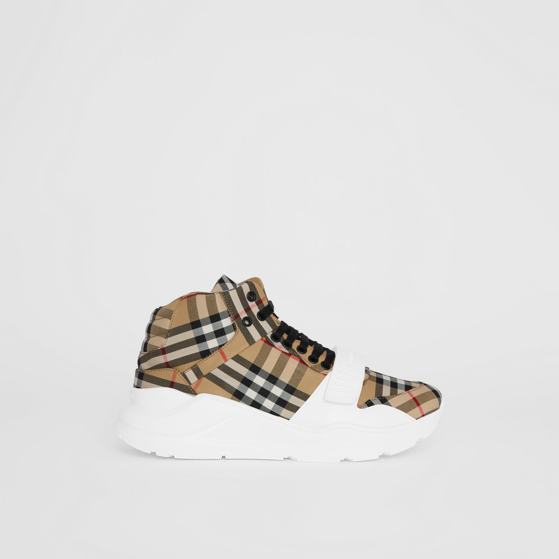 Vintage Check High-top Sneakers in Antique Yellow/optic White - Men | Burberry - gallery image 4
