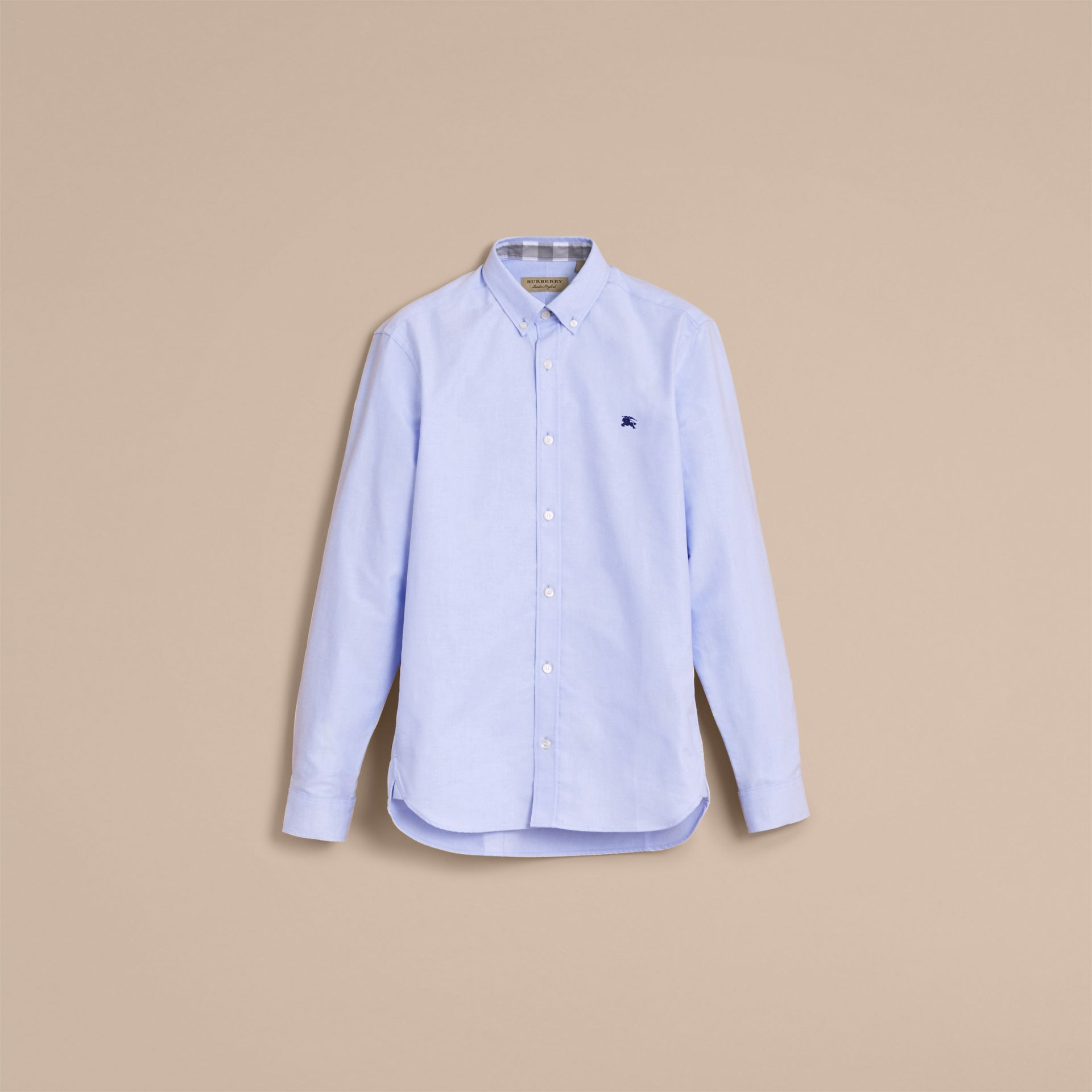 Button-down Collar Cotton Oxford Shirt with Check Detail Cornflower Blue - gallery image 4
