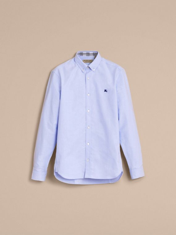 Button-down Collar Cotton Oxford Shirt with Check Detail Cornflower Blue - cell image 3