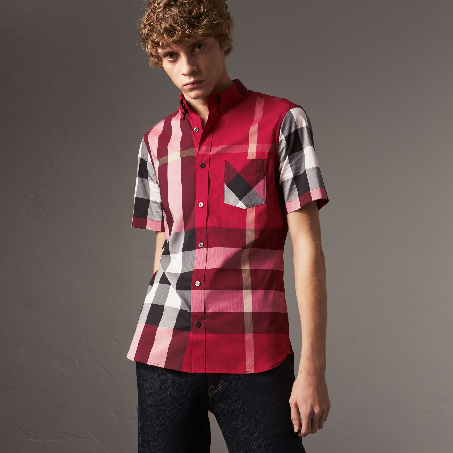 Short-sleeve Check Stretch Cotton Blend Shirt in Parade Red - Men | Burberry - gallery image 0