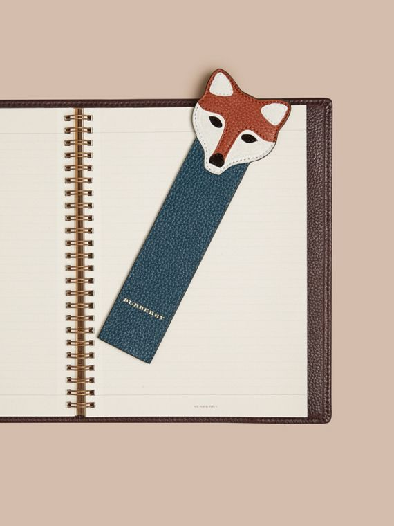 Dusty teal Fox Detail Grainy Leather Bookmark - cell image 2