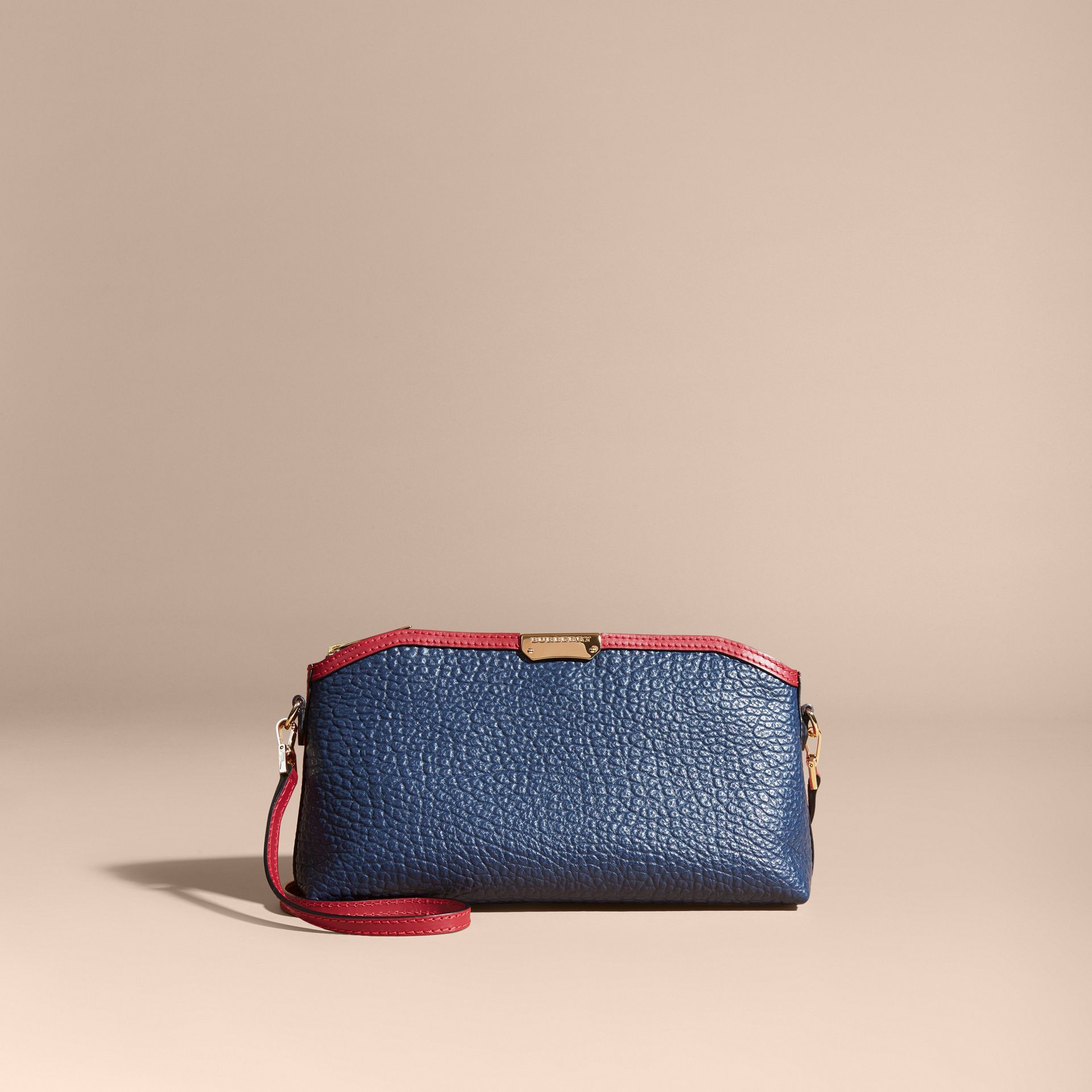 Blue carbon/parade red Small Contrast Border Grainy Leather Clutch Bag - gallery image 9