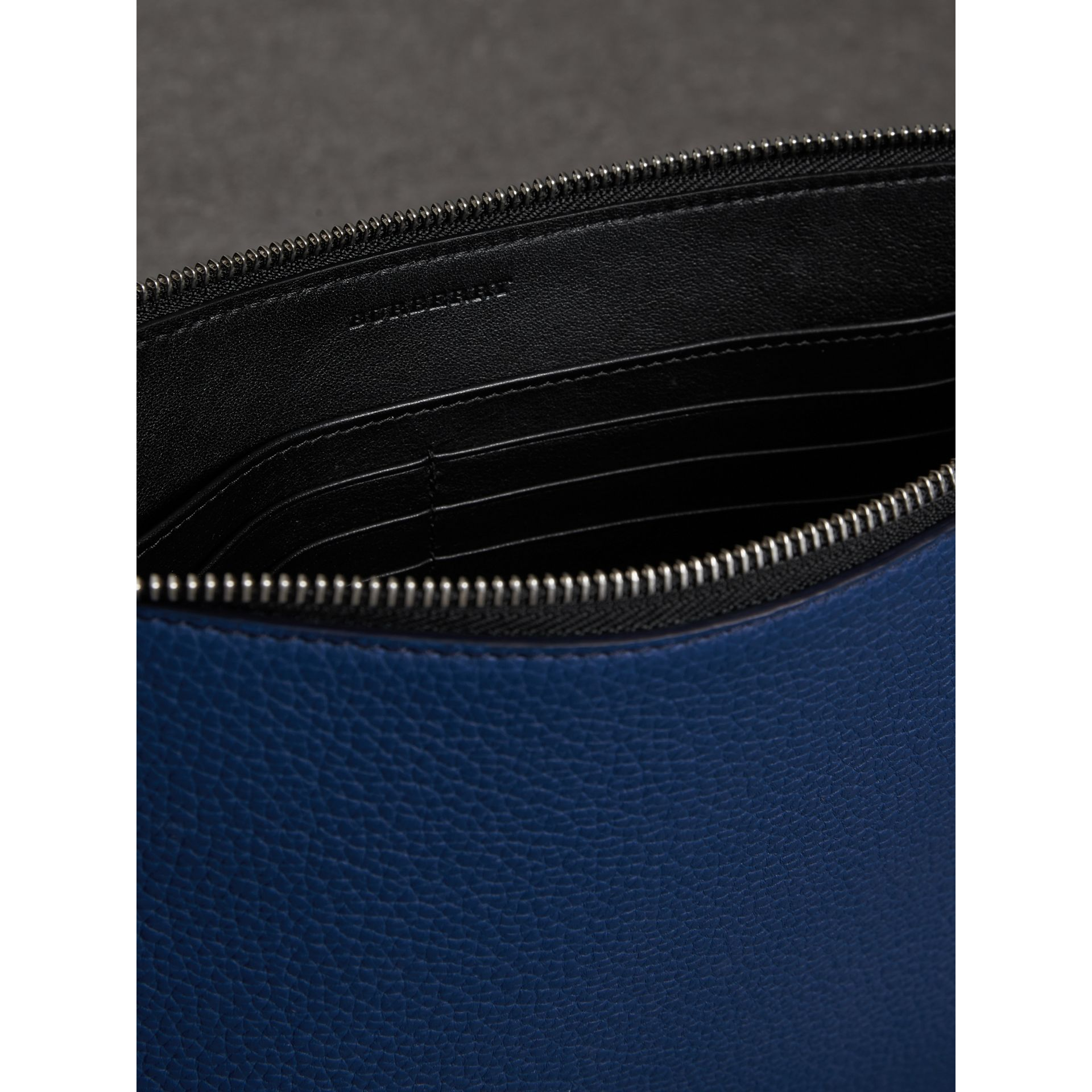 Grainy Leather Zip Pouch in Bright Ultramarine | Burberry Australia - gallery image 3