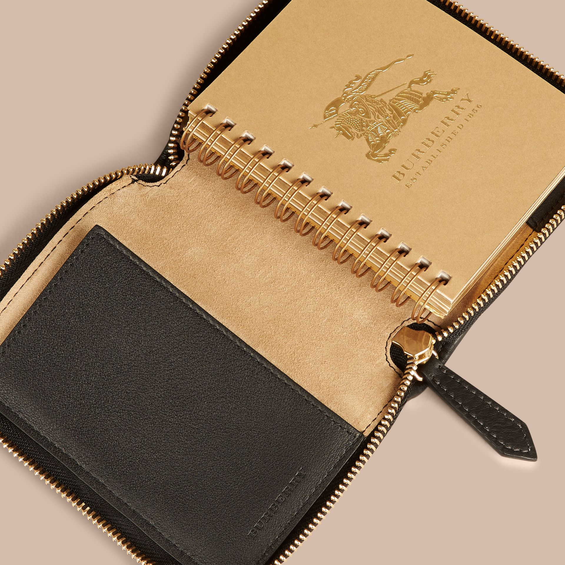 Black Ziparound Animal Print Horseferry Check Mini Notebook - gallery image 3