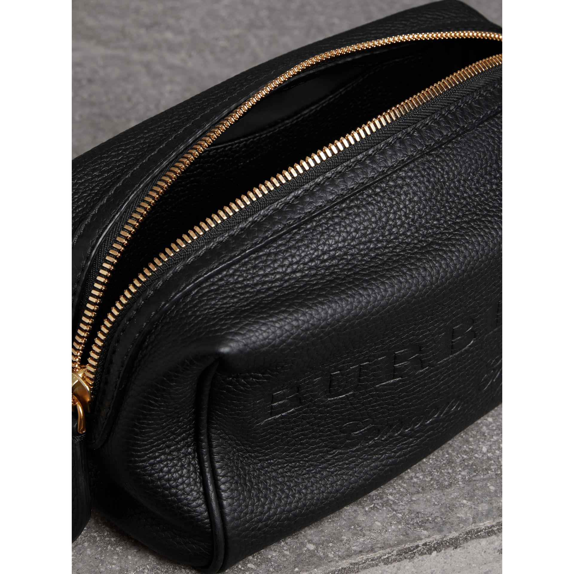 Embossed Grainy Leather Pouch in Black | Burberry - gallery image 3