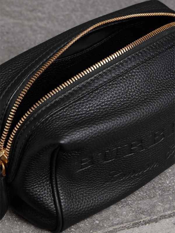 Embossed Grainy Leather Pouch in Black | Burberry Singapore - cell image 3