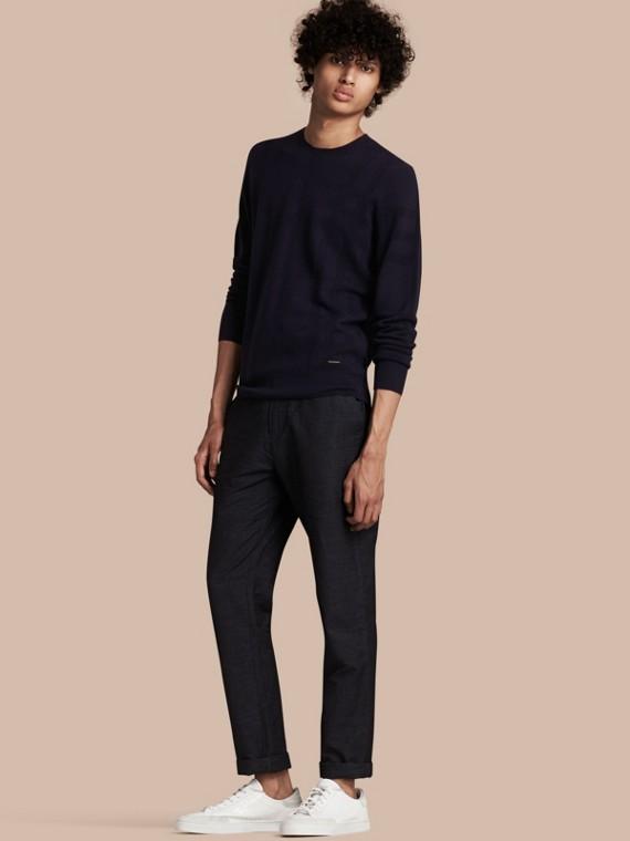 Lightweight Check Jacquard Silk Wool Sweater