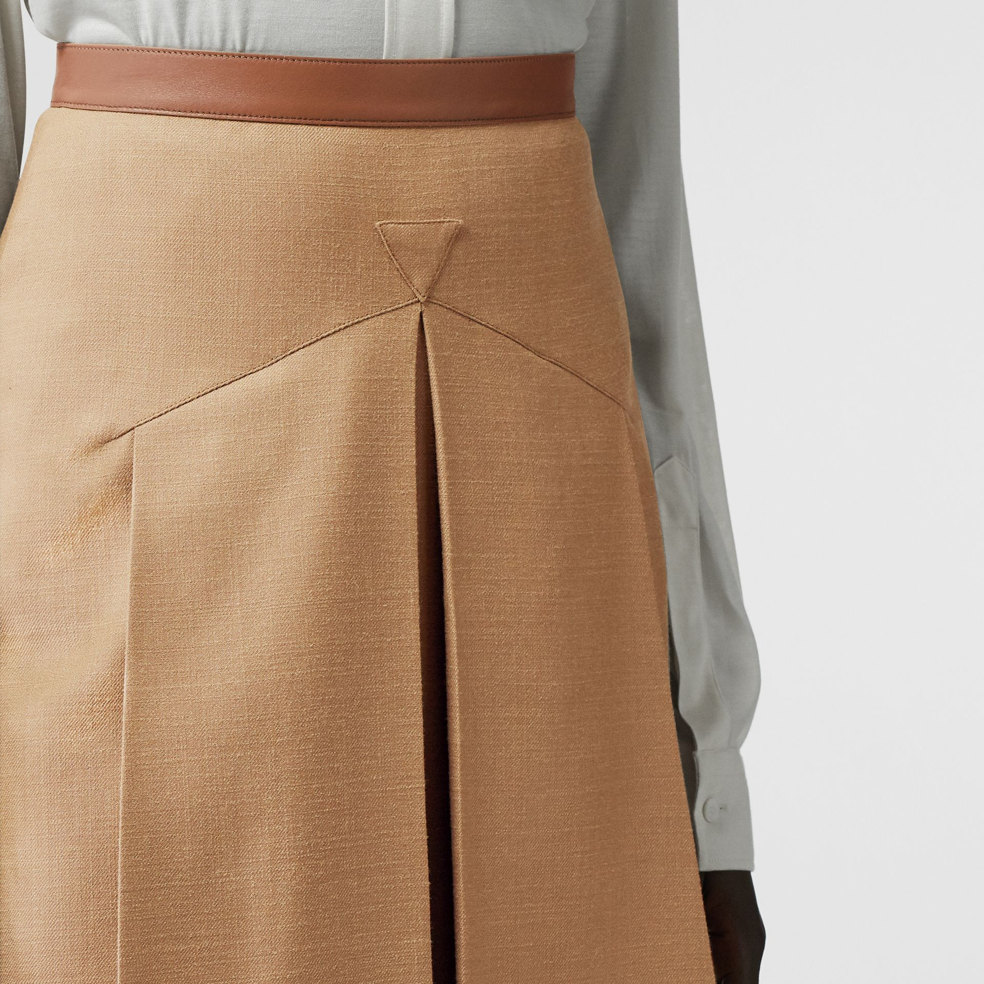 Lambskin Trim Box-pleated Wool Silk Skirt in Camel - Women | Burberry Canada - gallery image 1