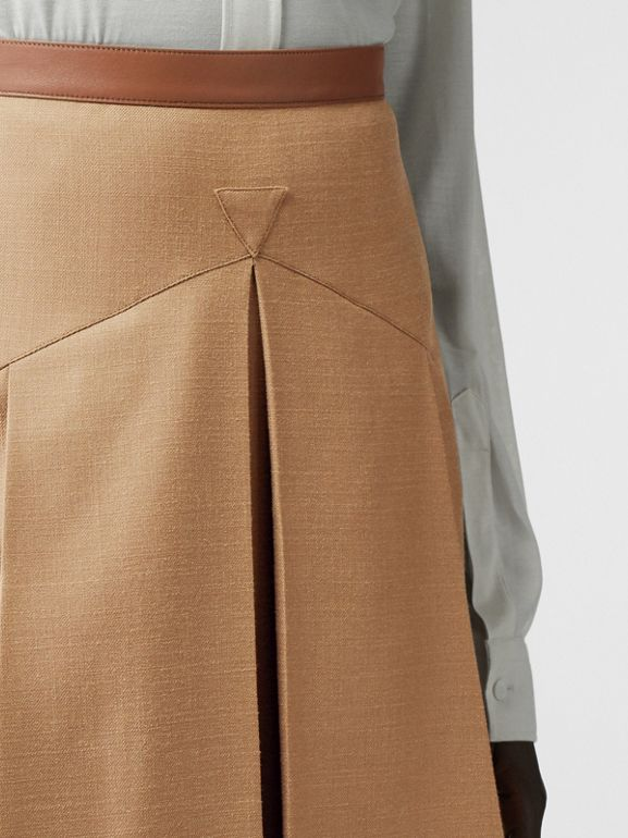 Lambskin Trim Box-pleated Wool Silk Skirt in Camel - Women | Burberry Canada - cell image 1