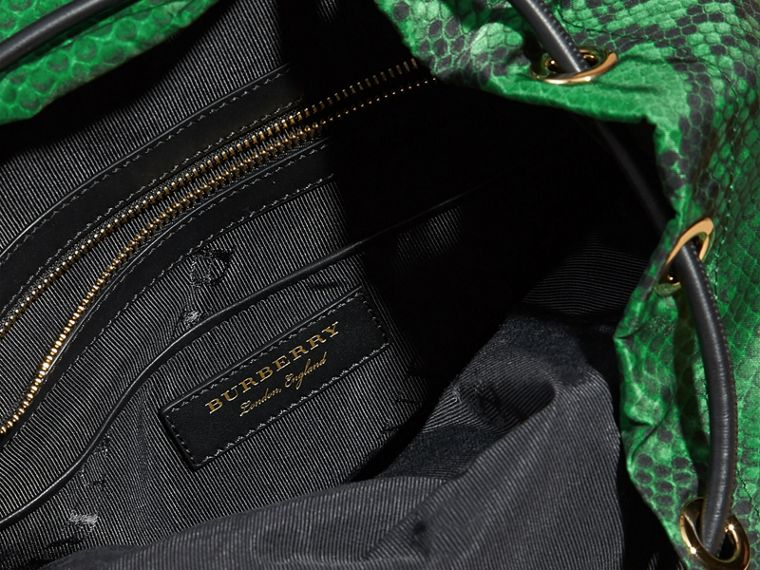 The Large Rucksack in Python Print Nylon and Leather in Green - cell image 4