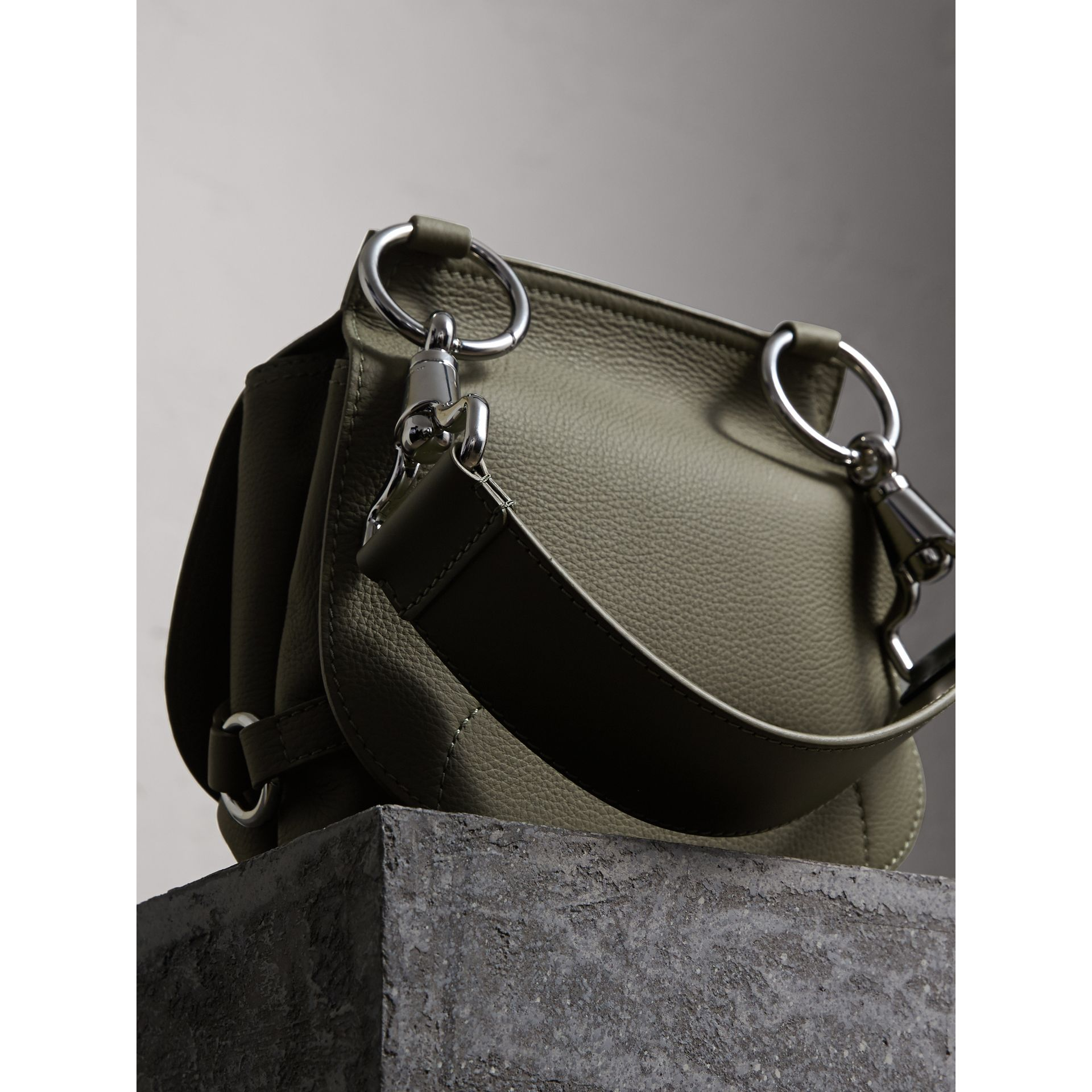 The Bridle Bag in Deerskin in Slate Green - Women | Burberry - gallery image 4