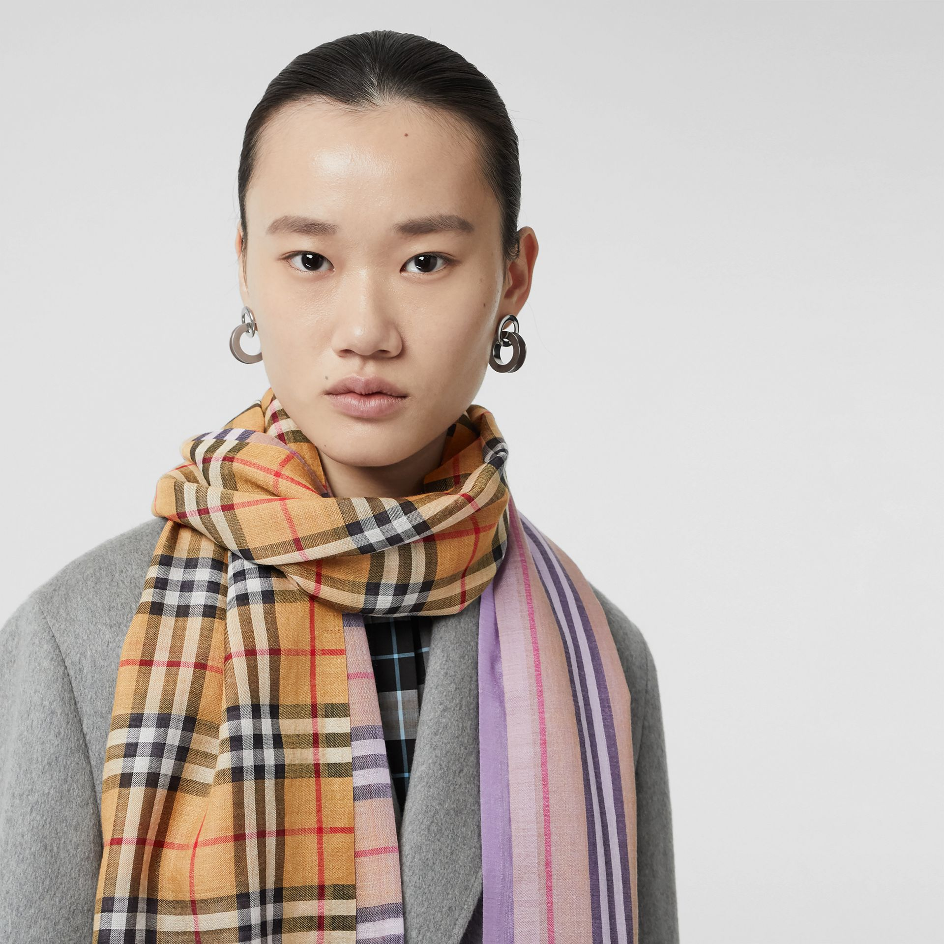 Vintage Check Colour Block Wool Silk Scarf in Lilac | Burberry - gallery image 5