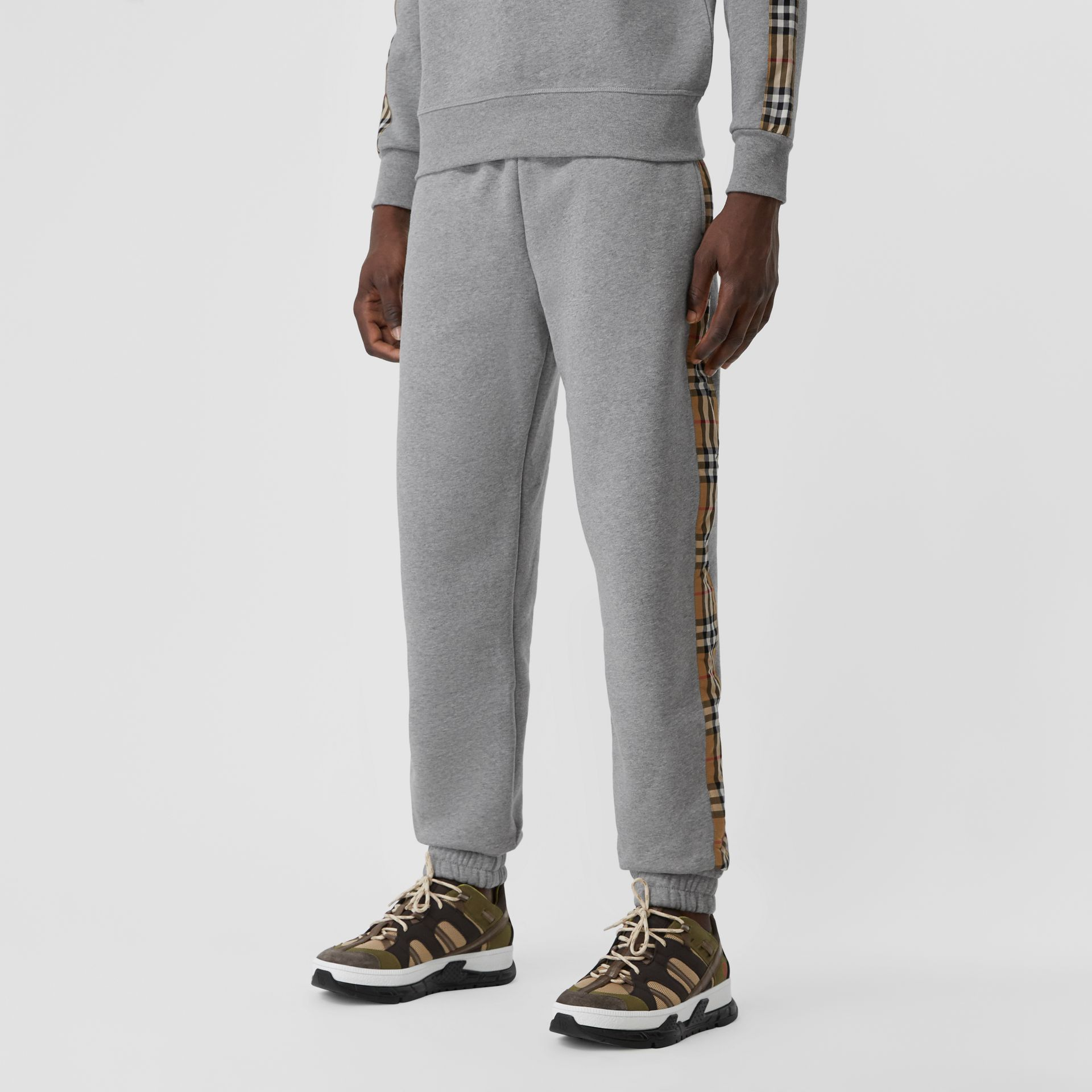 Vintage Check Panel Jersey Trackpants in Pale Grey Melange - Men | Burberry - gallery image 2
