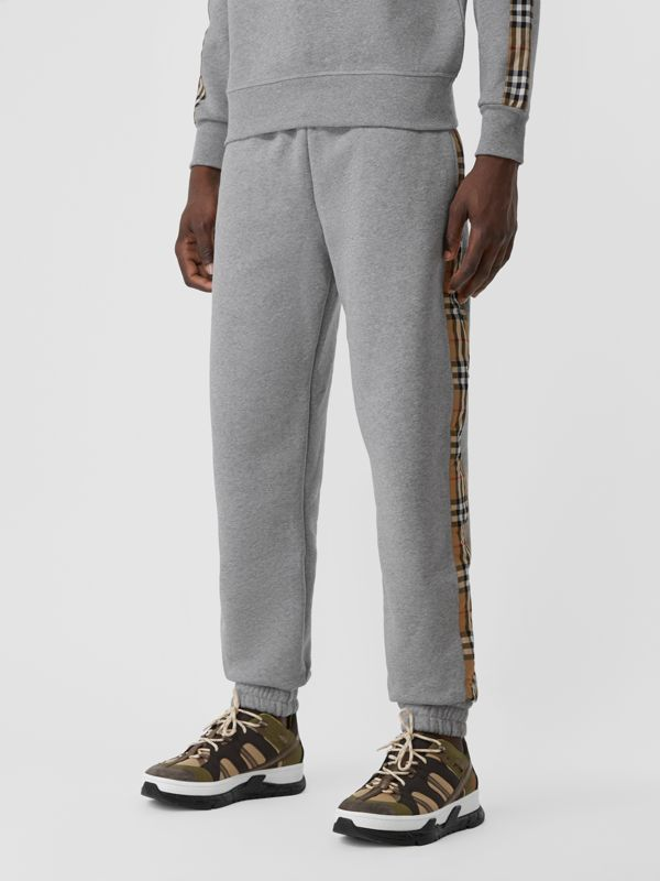 Vintage Check Panel Jersey Trackpants in Pale Grey Melange - Men | Burberry - cell image 2