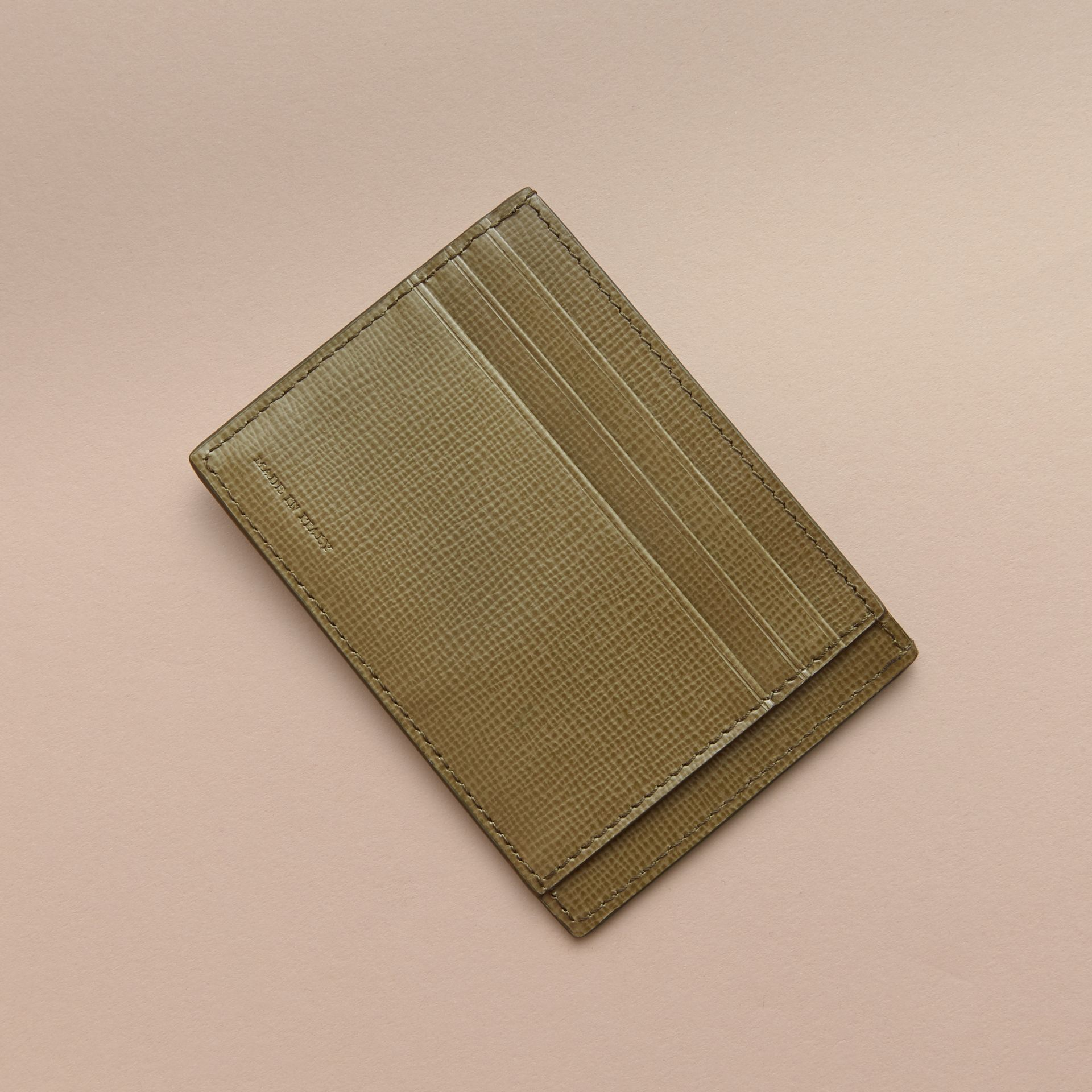 London Leather Card Case in Olive Green | Burberry - gallery image 3