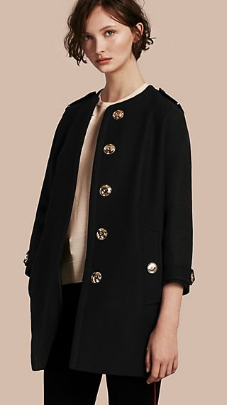 Technical Wool Cashmere Collarless Coat