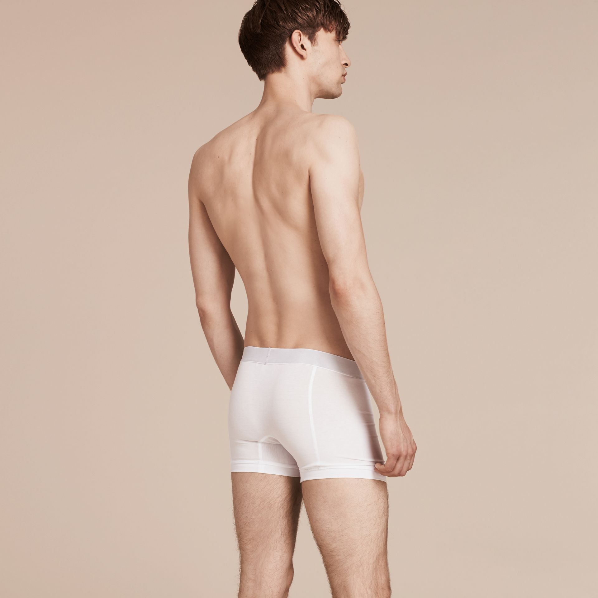 Stretch Cotton Boxer Shorts in White - Men | Burberry - gallery image 3
