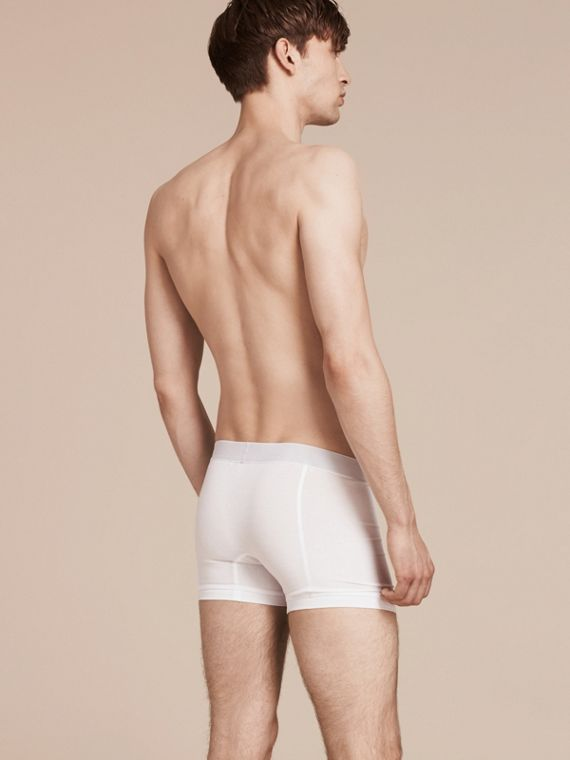 Stretch Cotton Boxer Shorts in White - Men | Burberry - cell image 2