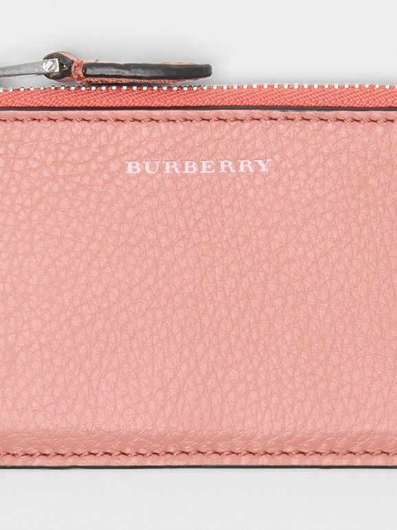 Two-tone Leather Zip Card Case in Dusty Rose - Women | Burberry United States - cell image 1