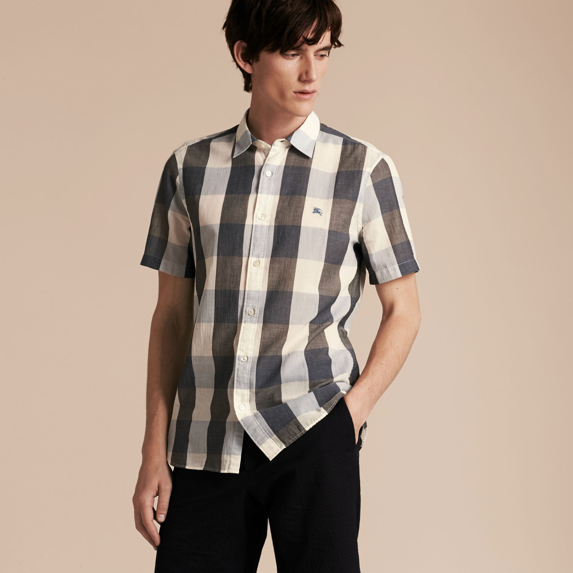 Short-sleeved Exploded Gingham Cotton Linen Shirt Pale Cornflower Blue - gallery image 6