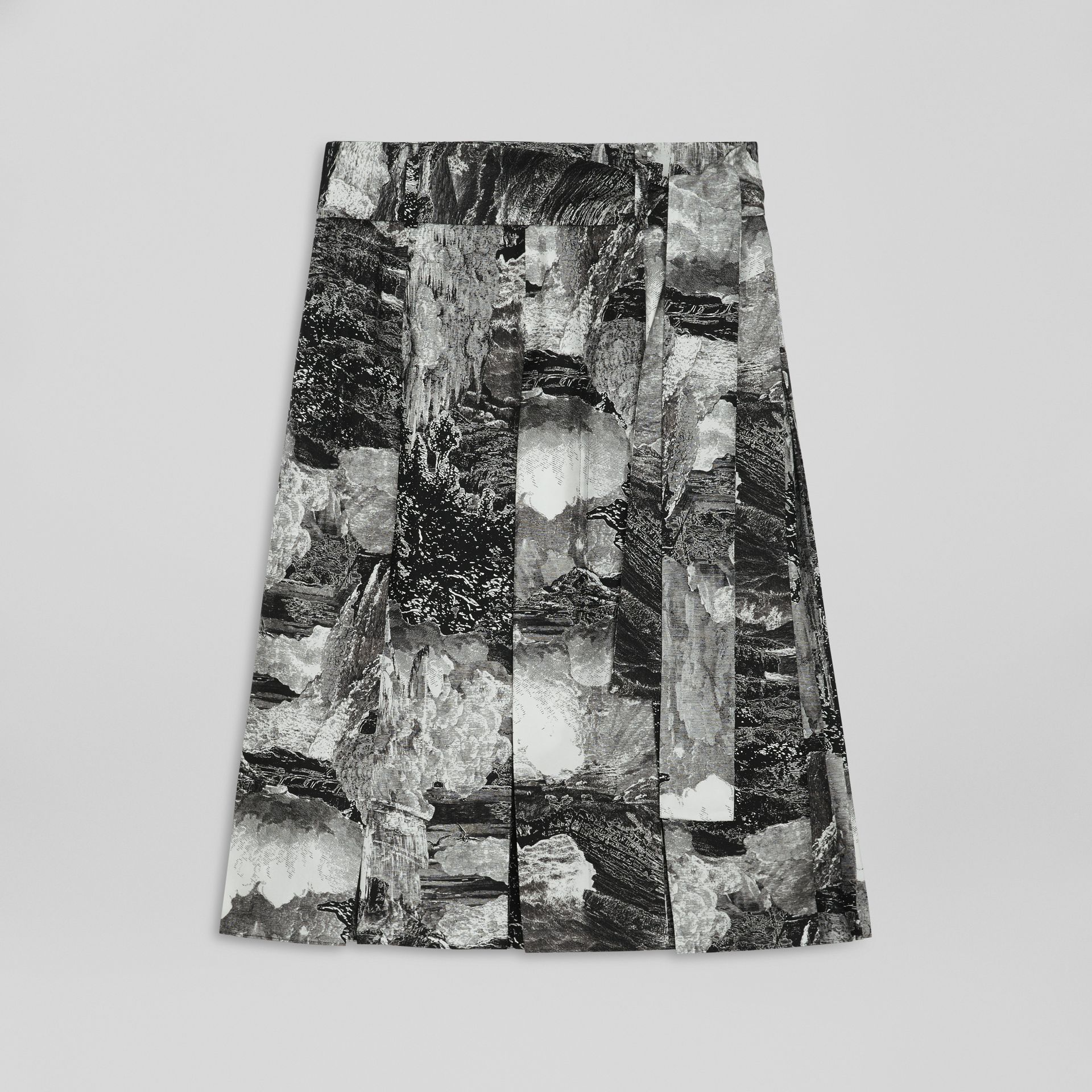 Dreamscape Print Pleated Silk Tie-waist Skirt in Black - Women | Burberry Canada - gallery image 3
