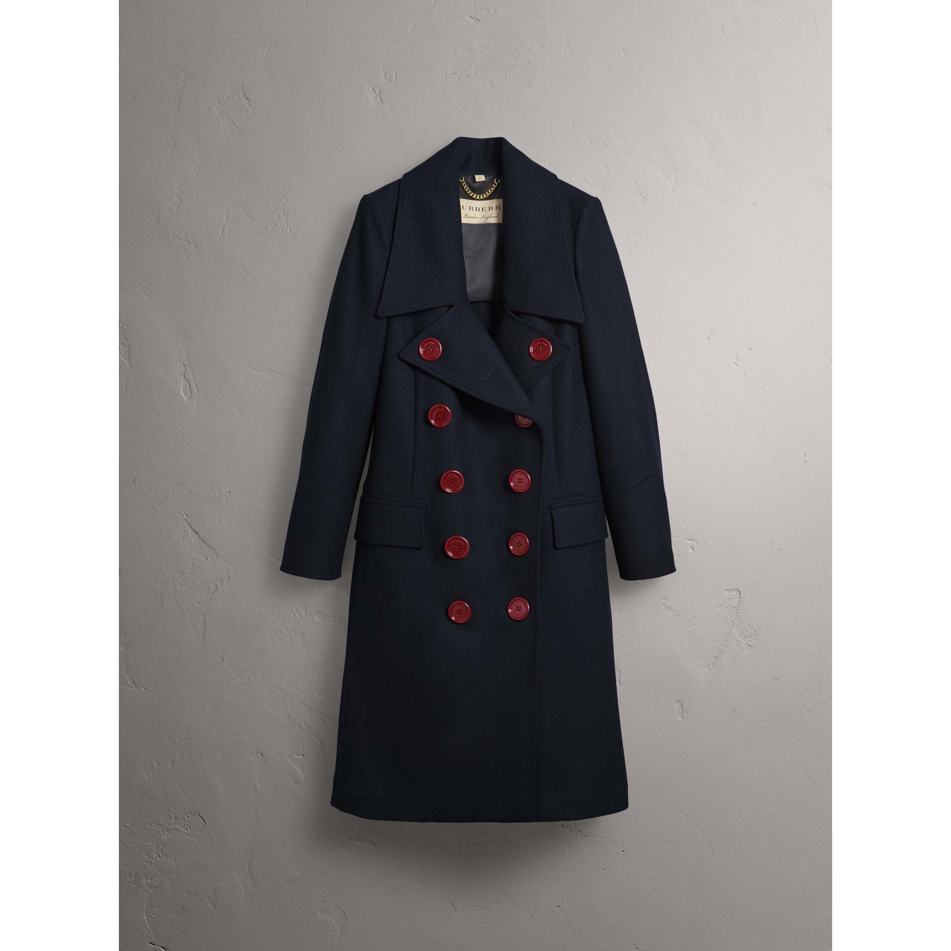 Resin Button Wool Oversize Coat in True Navy - Women | Burberry - gallery image 4