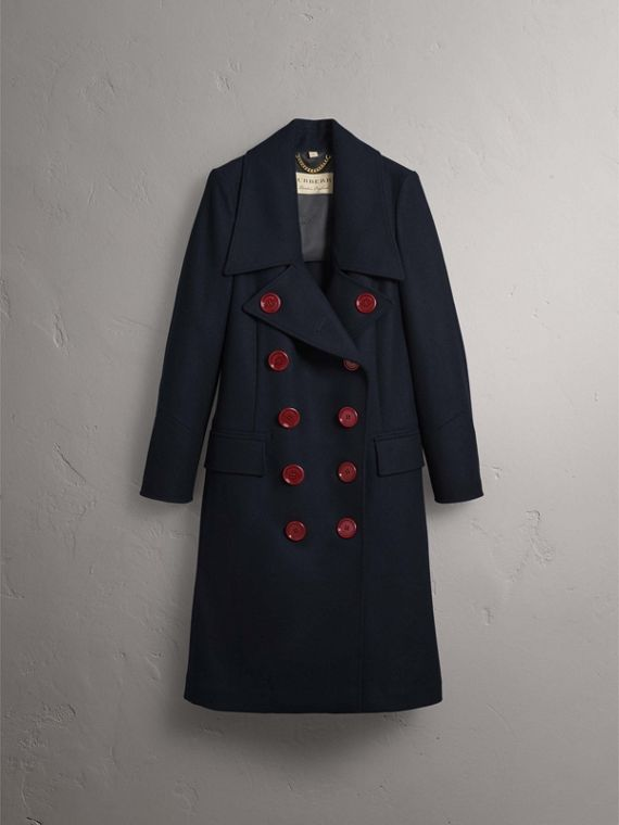 Resin Button Wool Oversize Coat in True Navy - Women | Burberry - cell image 3