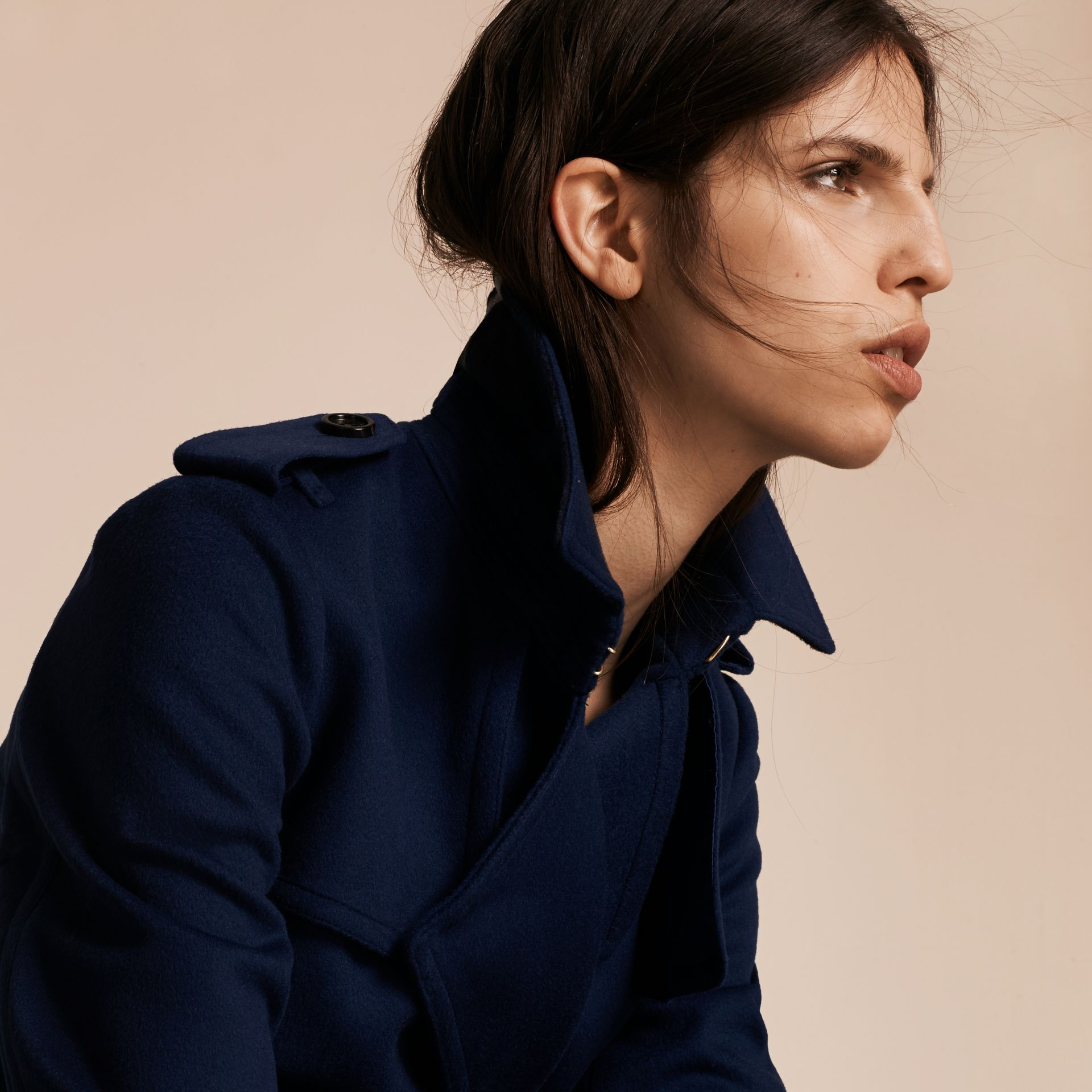 Empire blue Wool Cashmere Wrap Trench Coat - gallery image 5