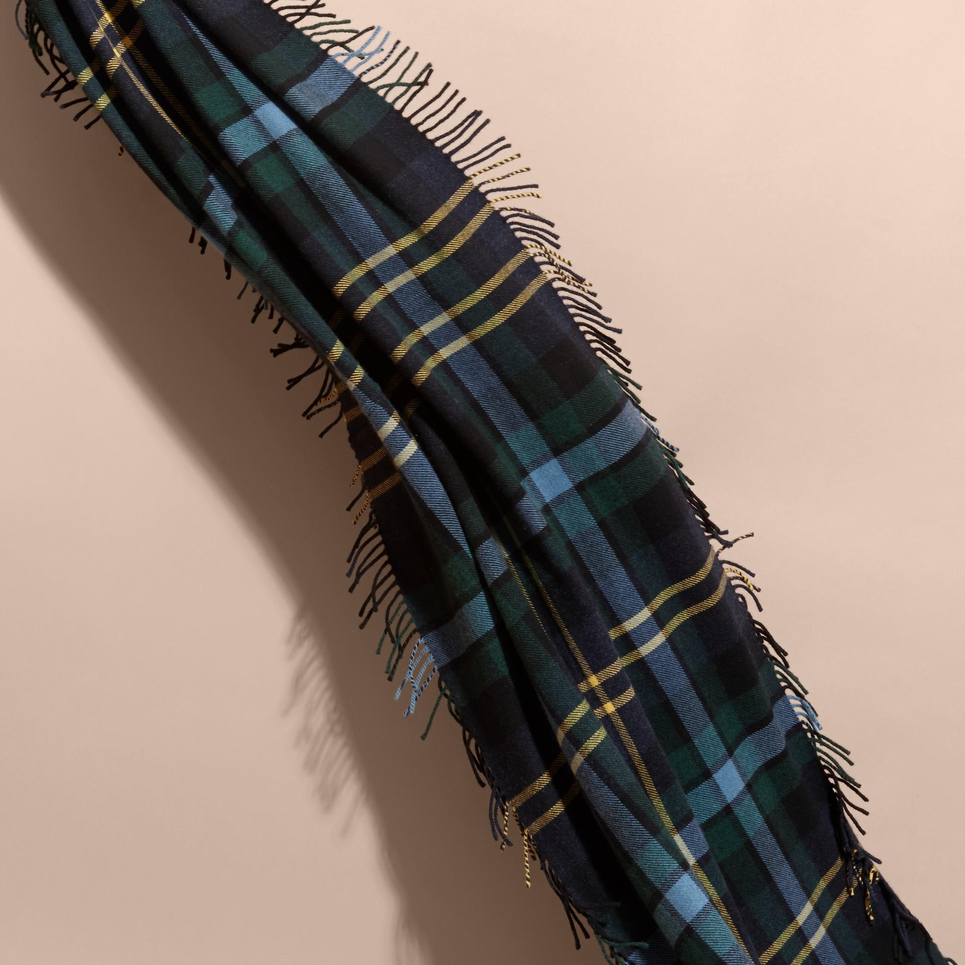 Ink Oversize Tartan Wool Cashmere Fringe Scarf Ink - gallery image 4