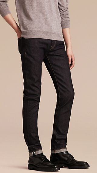 Jean slim en denim selvedge japonais extensible